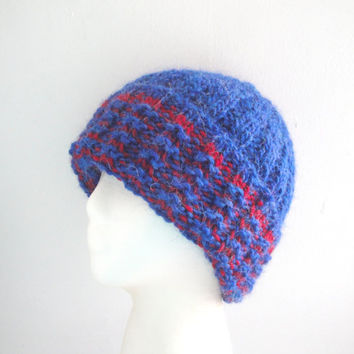 Warm Chunky Hat, Llama Wool, Blue & Red, Slouch Hat, Beanie Watch Cap, Guys Men Women