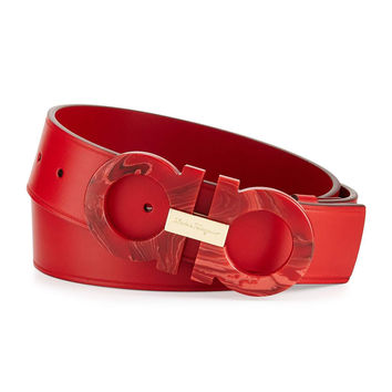 Mini Big Double-Gancini Leather Belt, Red Ruby
