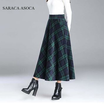 Preppy Style Pleated Plaid Long Skirt Student Girls Winter High Waist Red Plaid Bust Long Skirt Women Muslim