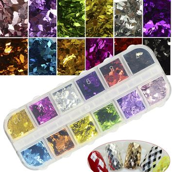 12 Color/Set Nail Art Rhombus 3D Glitter Sticker Fashion Dazzling DIY Diamond Flake Sequin Manicure Decorations Tips CHNC326