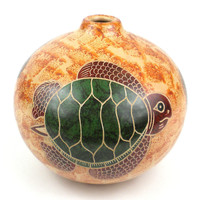 Handmade 4 inch Tall Clay Pottery Vase - Turtle on Sand - Nicaragua Central America
