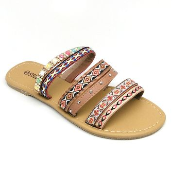 Women's Brown Tribal Embroidered Sandal with Multicolored Beads