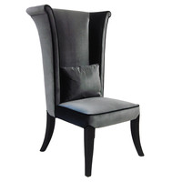 Mad Hatter Dining Chair In Gray Rich Velvet