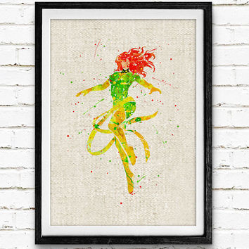 X-Men Phoenix Watercolor Print, Marvel Superhero Poster, Kids Room Wall Art, Home Decor, Not Framed, Buy 2 Get 1 Free!