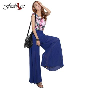 2017 Newest Spring Double Chiffon Wide Leg Pants Women Vintage Loose Plus Size Soft Dance Pants Bell Bottom Causal Pantalon Hot