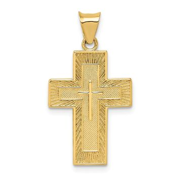 14K Yellow Gold Textured Reversible Lord's Prayer in Spanish Cross Pendant