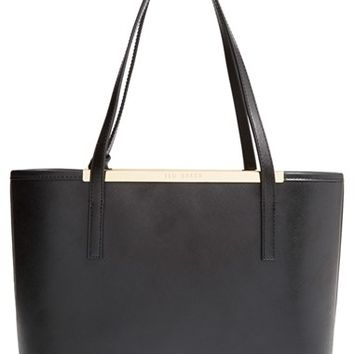 Ted Baker London 'Small Lilley' Crosshatch Leather Shopper