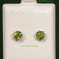 Round Cut Peridot Stud Earrings Sterling Silver Setting Posts