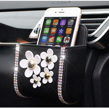 Flower Phone Bag Car Hanging Decor Accessories Handmade Daisy Car Bag Organizer Phone Holder
