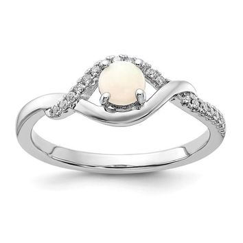 14k White Gold Round White Australian Opal And Diamond ByPass Ring