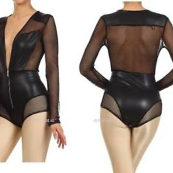 MADE in U.S.A. SEXY FISH NET INSERT FAUX LEATHER  BODYSUIT  BEYONCE ON THE RUN