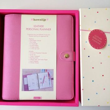 Brand New Kikki-k TEXTURED LEATHER PERSONAL PLANNER LARGE: PINK