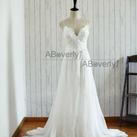 Beach Boho Lace Chiffon Backless Wedding Dress Bridal Gown