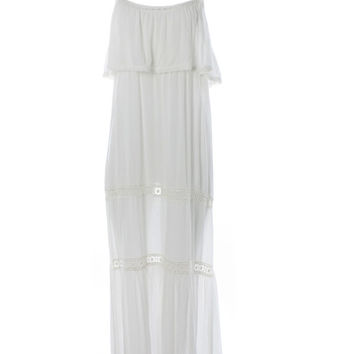DejaVu Off White Maxi Dress with Single Tier & Crochet Detail