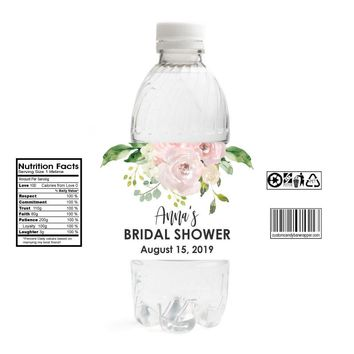 Watercolor Bridal Shower Water Bottle Labels