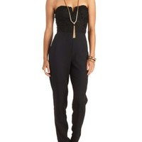 Strapless Lace Jumpsuit by Charlotte Russe - Black