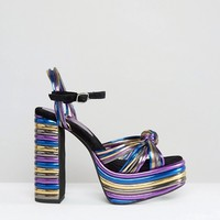 Jeffrey Campbell Andrea Metallic Knot Platform Sandals at asos.com