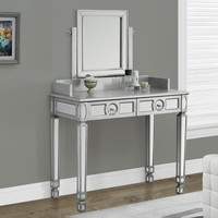 "Brushed Silver/Mirrored 36""L Vanity with 2 Drawers"