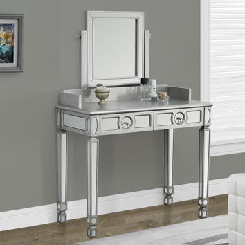 "Brushed Silver / Mirrored 36""L Vanity Table With 2 Drawers"