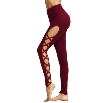 Sexy Red High Waist Lace Up Ballet Fashion Yoga Leggings