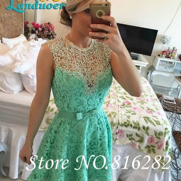2016 New Short Mini A line Lace Cocktail Dresses Pears Bow High NeckSleeveless Homecoming Dresses Sexy party dress Prom girl