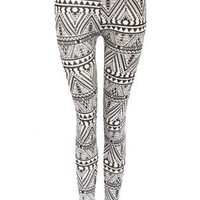 Pilot Tia Aztec Monochrome Leggings in Black