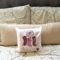 "Dream catcher with feathers 12"" x 12"" throw pillow for bedroom or home decor"