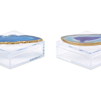 Acrylic Pill Boxes w/ Blue Agate, Set of 2, Acrylic / Lucite, Boxes