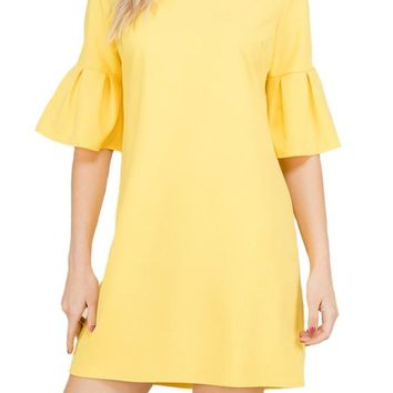 Pleat Bell Sleeve Shift Dress