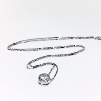 Diamond solitaire necklace tiny diamond sterling silver choker necklace small diamond layered necklace dot charm cz diamond 16 inches to 18