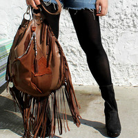 Leather boho fringe slouchy tote western aztec fringed bag gypsy soul southwest artisan asymmetrical navajo tribal brown tote ethinic