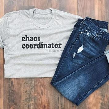 OKOUFEN Chaos Coordinator Teacher Shirt school classic tee O-neck tumblr fashion unisex tops plus size hipster summer clothing