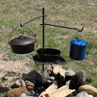 Campfire Cooking Grill, BBQ Grate, Dutch Oven and Cookware Ready **Hunting, Camping, Recreational and Outdoor Cooking**