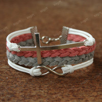 Cross bracelet - infinity bracelet with cross symbol charm for girls and GF. unique Valentine's day gift for her