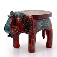 Global Hand Carved Wood Boho Moroccan Elephant Stool