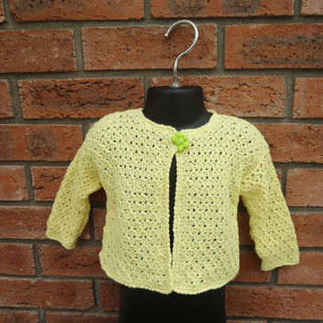 Hand Knitted Baby Cardigan, Lace Baby Cardigan , Baby Jumper, Baby Sweter,Yellow