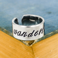 Wanderlust Script Ring - Travel - Adventure - Adjustable Aluminum Cuff Ring