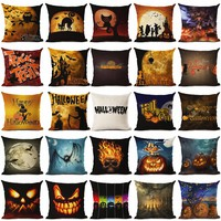 Halloween Cushion Happy Halloween Throw Pillow Skull Pumpkin Cat Bat Crow Owl Letter Cushion Sofa Home Decorative Pillows Emji
