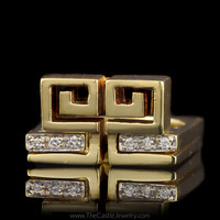 Unique Greek Key Design Square Puzzle Ring with Diamond Insert in 14K Yellow Gold
