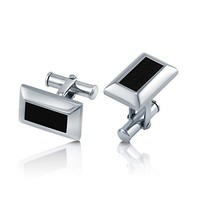 316L Stainless Steel With Black Leather Rectangular Cufflinks #cu002
