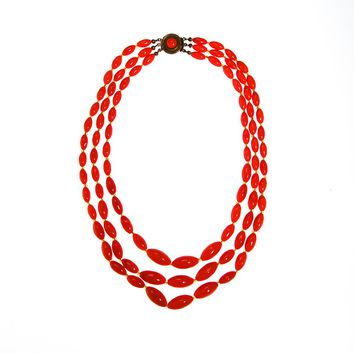 Multi Strand Coral Glass Bead Necklace