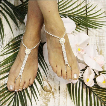APHRODITE rhinestone barefoot sandals - silver