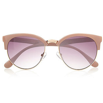Light brown half frame retro sunglasses - retro sunglasses - sunglasses - women