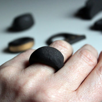 Spanish Black Stoneware Carved Ceramic Ring by JoyPureAndSimple