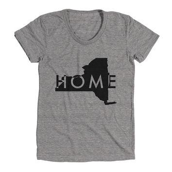 New York Home Womens Athletic Grey T Shirt - Graphic Tee - Clothing - Gift