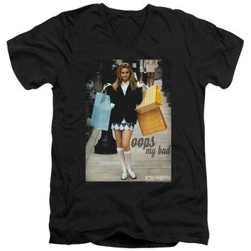 Clueless Slim Fit V-Neck T-Shirt Cher Oops My Bad Black Tee