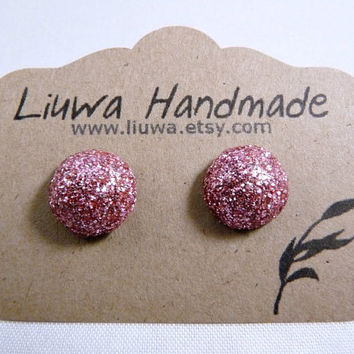 Pink Glitter Dot Post Earrings Polymer Clay Studs by Liuwa on Etsy
