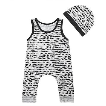 Newborn Baby Clothing Set Infant Kids Baby Boy Girl Cotton Sleeveless Romper +Hat Jumpsuit Clothes Outfit