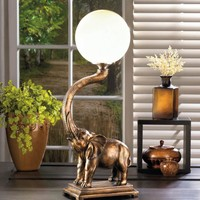 Trumpeting Elephant Globe Table Lamp