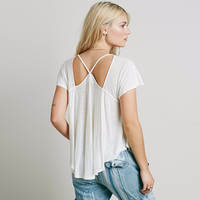 2017 New Summer Fashion Casual Loose Sexy Backless Hollow Out Solid Asymmetrical Short Sleeve Women T-shirt-0412